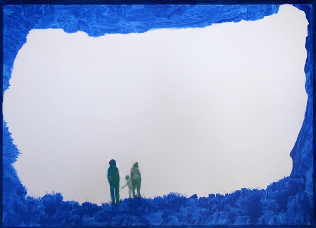 始まり 洞窟から出ると決めた人々 油彩/ キャンバス56x76.5cm
