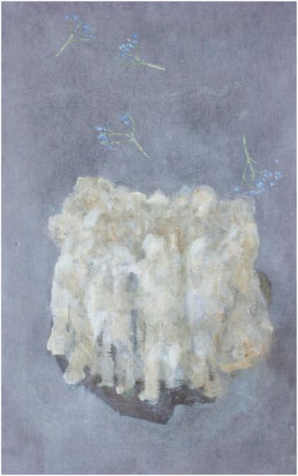 人々は議論に夢中で誰も花に気づかないという夢 蜜蝋/油彩/キャンバス 45.5×27.3 cm