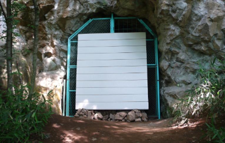 タイトル:くりかえし対立する世界で白い壁はくりかえしあらわれる 「固有時と固有地」連作2006年〜13年 場所: 松代大本営地下壕跡 象山地下壕清野側4号出口 素材: 壁材(245cm×260cm) ガラス破片 鳩の羽 象山地下壕清野側4号出口付近の岩石の破片 4号出口周辺までの遊歩道 設置: 北澤一伯