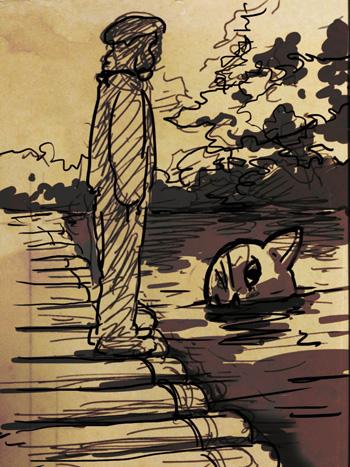 川の中の猫